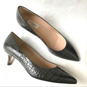 L.K. Bennett Audrey Gray Croc Effect Kitten Heels